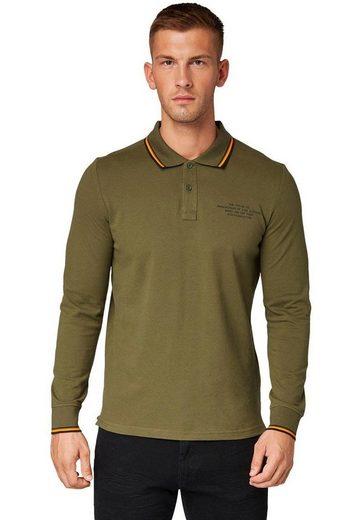 TOM TAILOR Langarm-Poloshirt mit Kontrastfarben