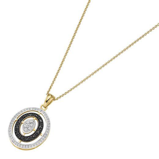 Luigi Merano Kette mit Anhänger »mit schwarzen und weißen Diamanten, Gold 585«