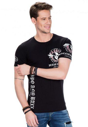 Cipo & Baxx T-Shirt mit Varsity Motorcycle-Aufdruck