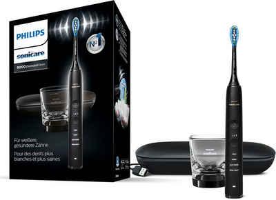 Philips Sonicare Elektrische Zahnbürste HX9911, Aufsteckbürsten: 1 St., DiamondClean Premium Schallzahnbürste, inkl. Ladeglas und USB-Reiseetui