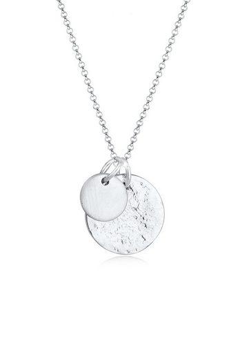 Elli Collierkettchen »Plättchen Münzen Organic Look 925 Silber«