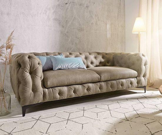 DELIFE Couch Corleone 3-Sitzer Wildlederoptik