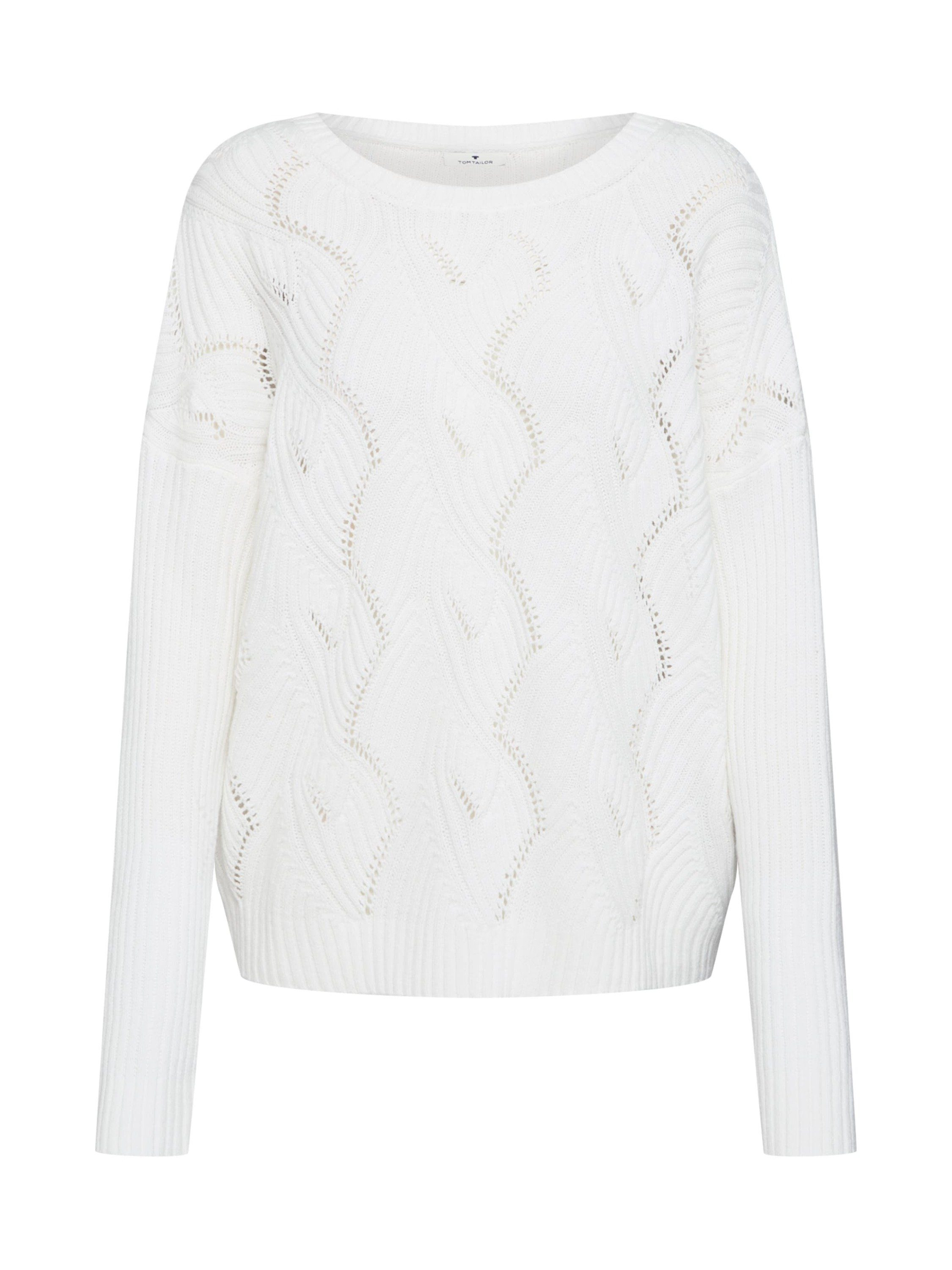 Damen TOM TAILOR Strickpullover »sweater with open structure« Lochmuster  | 04061946703994