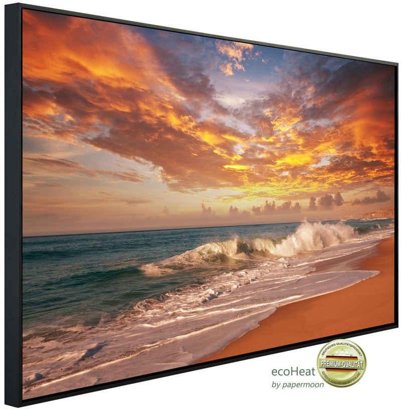 Papermoon Infrarotheizung »EcoHeat - Sonnenuntergang Strand«, Aluminium, 1200 W, 60x120 cm, mit Rahmen, energiesparendes Heizen für angenehme, gesunde und gleichmäßige Wärme