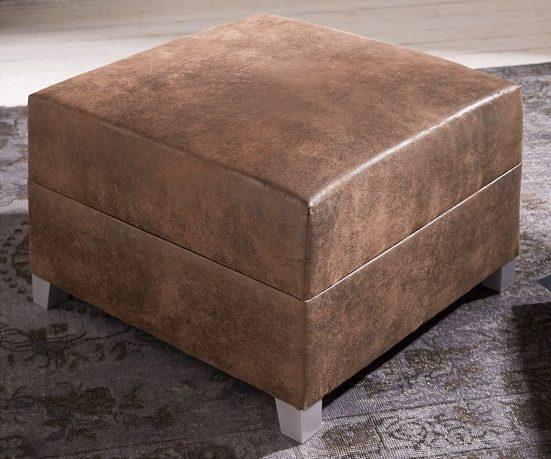 DELIFE Sofa Hocker Panama Antik Braun Modul B72 x T72