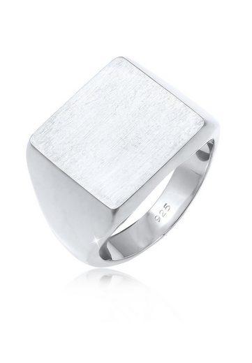 Elli Fingerring »Siegelring Royal Matt Geo Quadrat Trend 925 Silber«