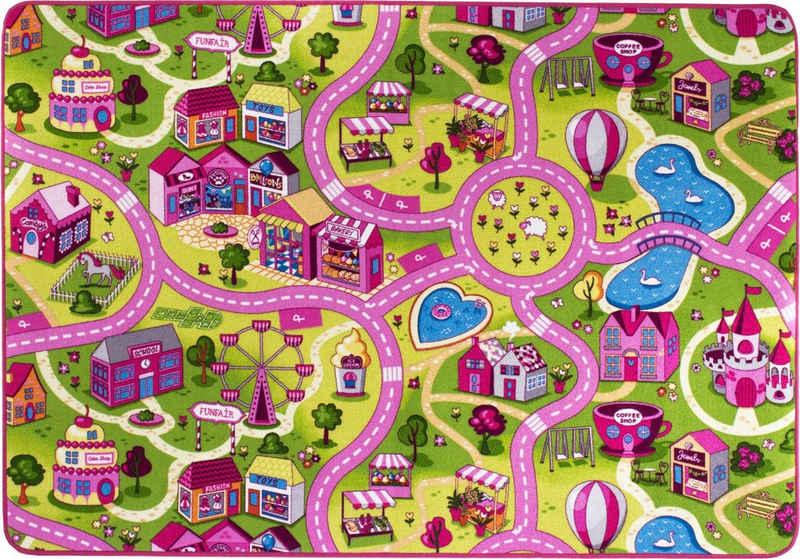 Kinderteppich »Sweet Village«, Andiamo, rechteckig, Höhe 7 mm, Straßen-Spielteppich, Straßenbreite: 6,0 cm, Kinderzimmer