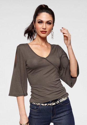 Melrose V-Shirt mit Ärmelschlitzen
