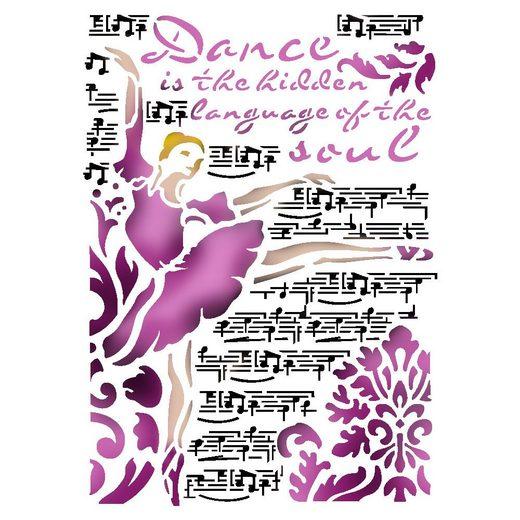 """Stamperia Mal-Schablone """"Dance"""" DIN A4"""