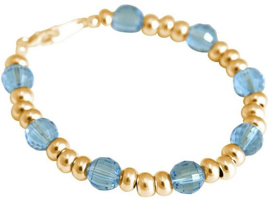 Gemshine Perlenarmband »Aquamarin MADE WITH SWAROVSKI ELEMENTS«