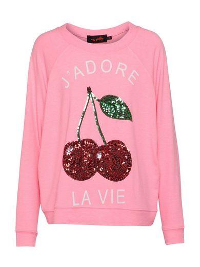 Miss Goodlife Sweatshirt »Cherry Pail« Pailletten