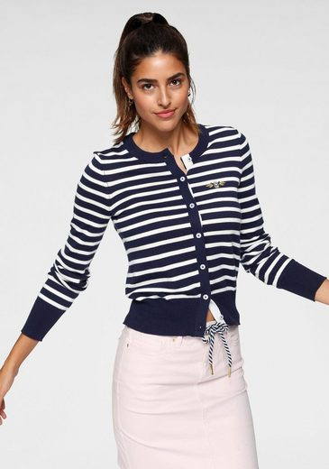 TOM TAILOR Polo Team Strickjacke mit kleinem Logo-Print