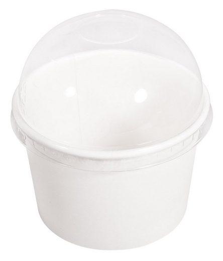 Papp Becher mit Kuppeldeckel, 200 ml, Ø 9cm, 6 Stück, weiß