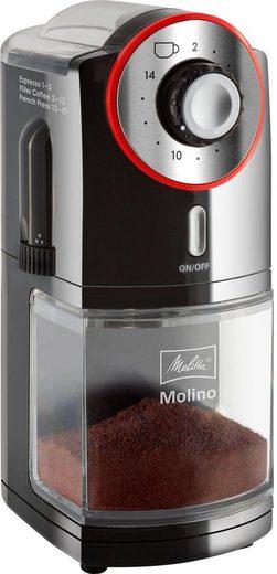 Melitta Kaffeemühle Molino 1019-01 schwarz-rot, 100 W, Scheibenmahlwerk, 200 g Bohnenbehälter