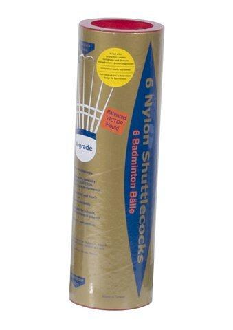 Badminton- Turnier- und Spielbälle, Victor, »Nylon 2000 gold« (6er Pack) in weiss