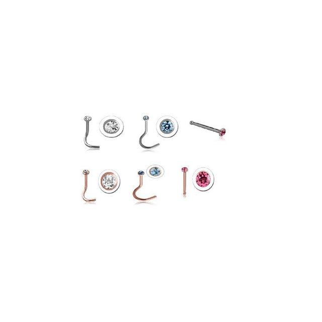 BodyJewel Nasenpiercing-Set »Nasenstecker, 6-teilig, Swarovski, Chirurgenstahl 316L« | Schmuck > Piercings | BodyJewel