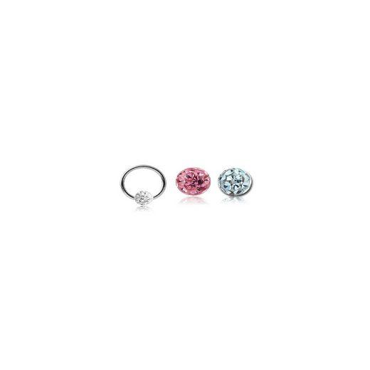 BodyJewel Piercing-Set »Ring, 3-teilig, Kristallsteine, Chirurgenstahl 316L«
