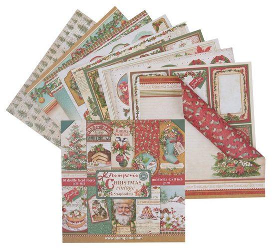 """Stamperia Scrapbook-Block """"Christmas Vintage"""" 10 Blatt"""
