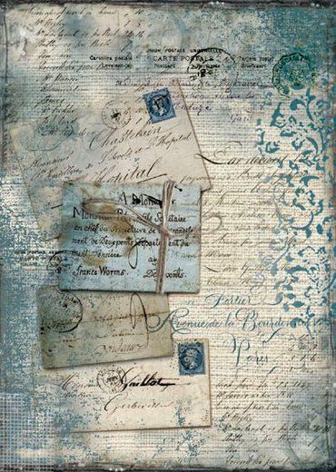 """Stamperia Motiv-Strohseide """"Blaue Postkarte """" DIN A4"""