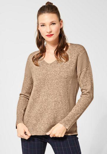 STREET ONE V-Ausschnitt-Pullover mit Strukturmix