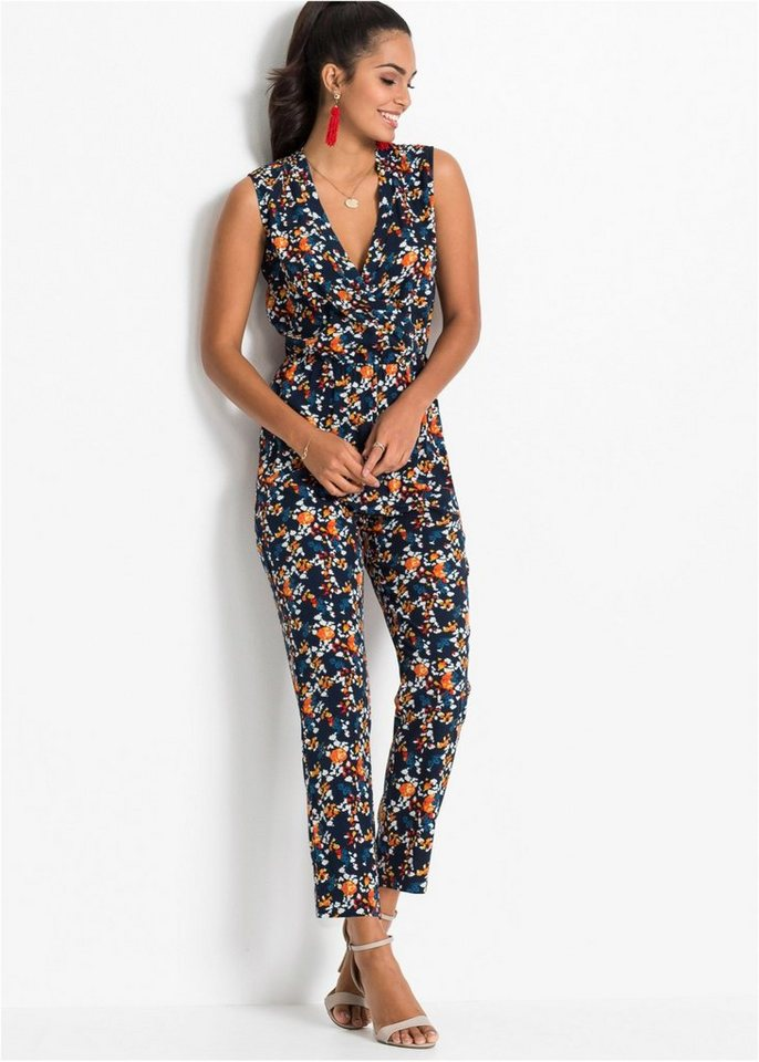 süß billig beliebt kaufen heiße neue Produkte bonprix Jumpsuit »Auffälliger Overall mit Allover-Print und V-Ausschnitt«  online kaufen | OTTO