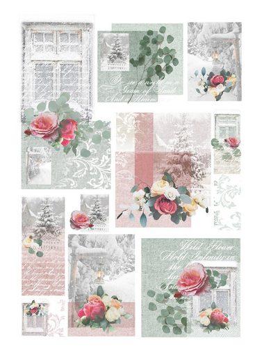 """Renkalik Motiv-Strohseide """"Winter Flowers"""" 45 cm x 32 cm"""