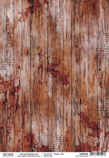 "Ciao Bella Motiv-Strohseide ""Old Time Wood"" 30 cm x 21,5 cm"
