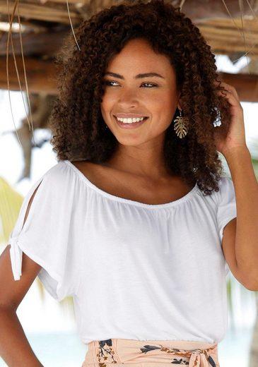 s.Oliver Beachwear Strandshirt mit Schlitzen an den Ärmeln
