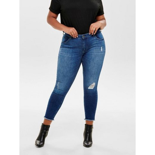 ONLY CARMAKOMA Skinny-fit-Jeans »Willy« mit Fransensaum