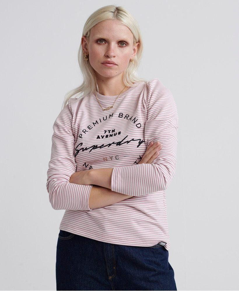 Superdry Langarmshirt »DUNNE STRIPE LS GRAPHIC TOP« im Premium Design online kaufen | OTTO