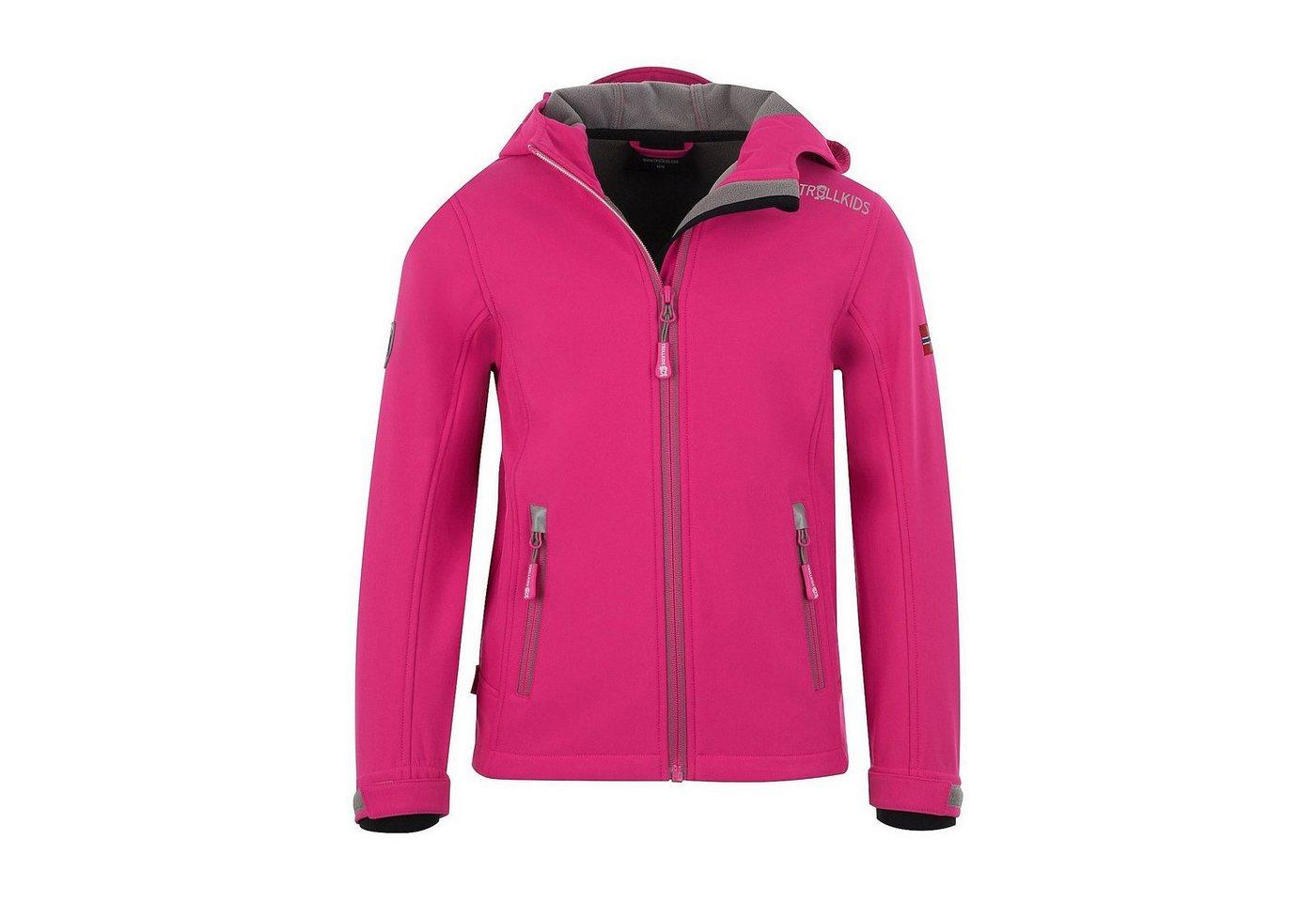 Damen,  Mädchen,  Kinder TROLLKIDS Softshelljacke TROLLFJORD für Mädchen rosa | 04260507057907