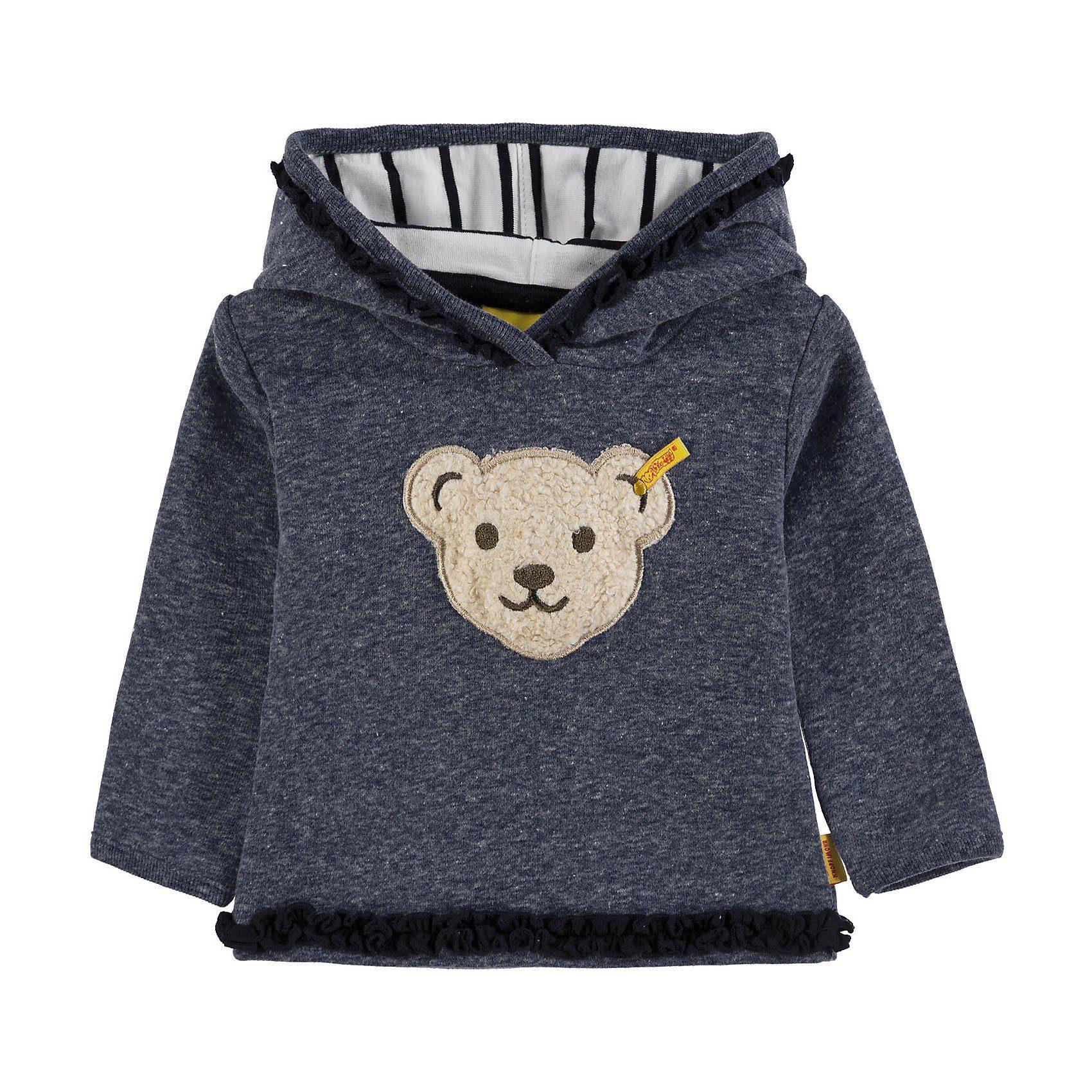 Damen,  Mädchen,  Kinder Steiff Sweatshirt mit Kapuze für Mädchen blau, rosa | 04056178912283