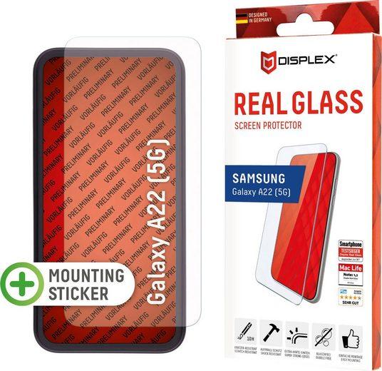 Displex »DISPLEX Real Glass Panzerglas für Samsung Galaxy A22 5G (6,5), 10H Tempered Glass, mit Montagerahmen, 2D« für Samsung Galaxy A22 (5G), Displayschutzfolie
