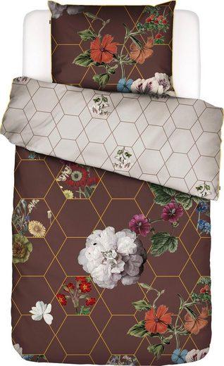 Wendebettwäsche »Abigail«, Essenza, mit üppigen Blumen und geometrischem Muster