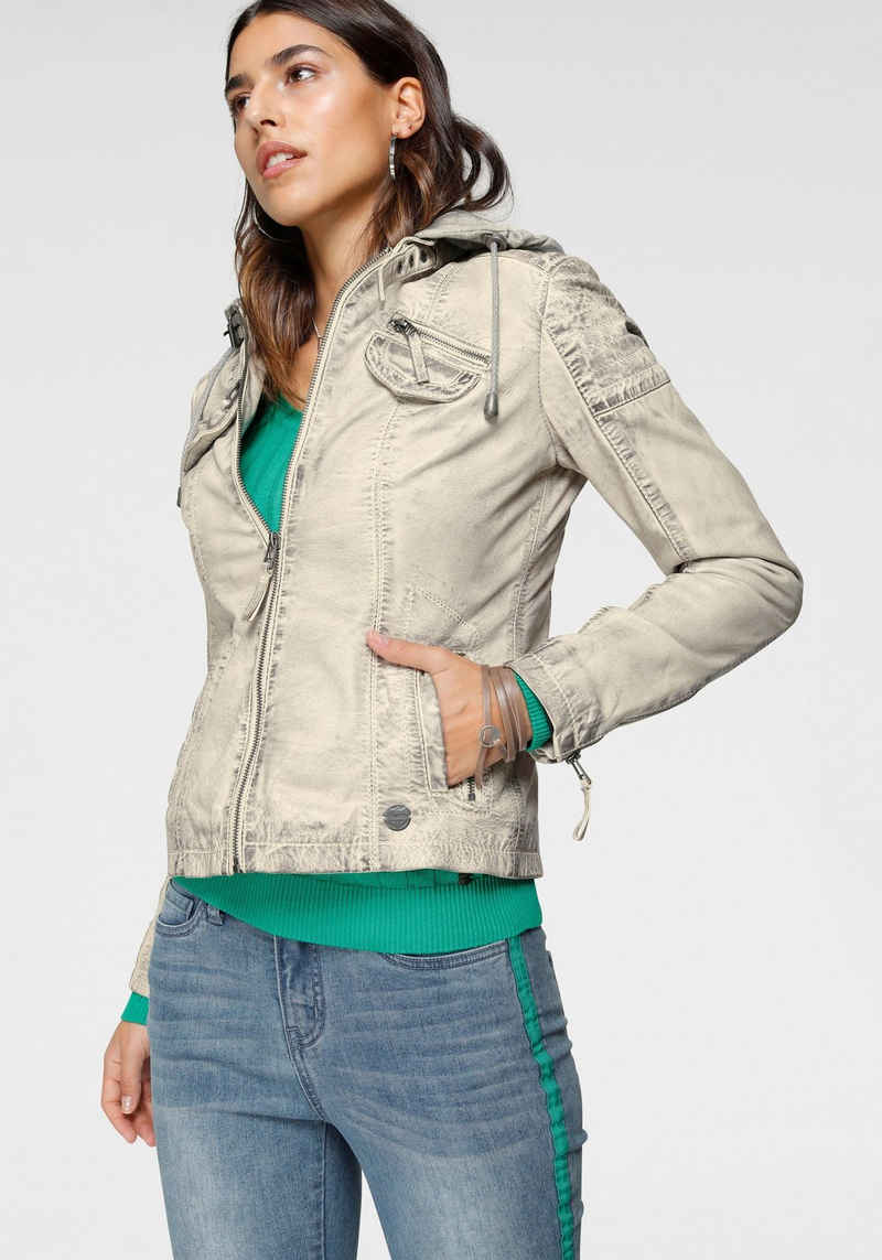 KangaROOS Lederjacke mit Kapuze aus Shirt-Ware