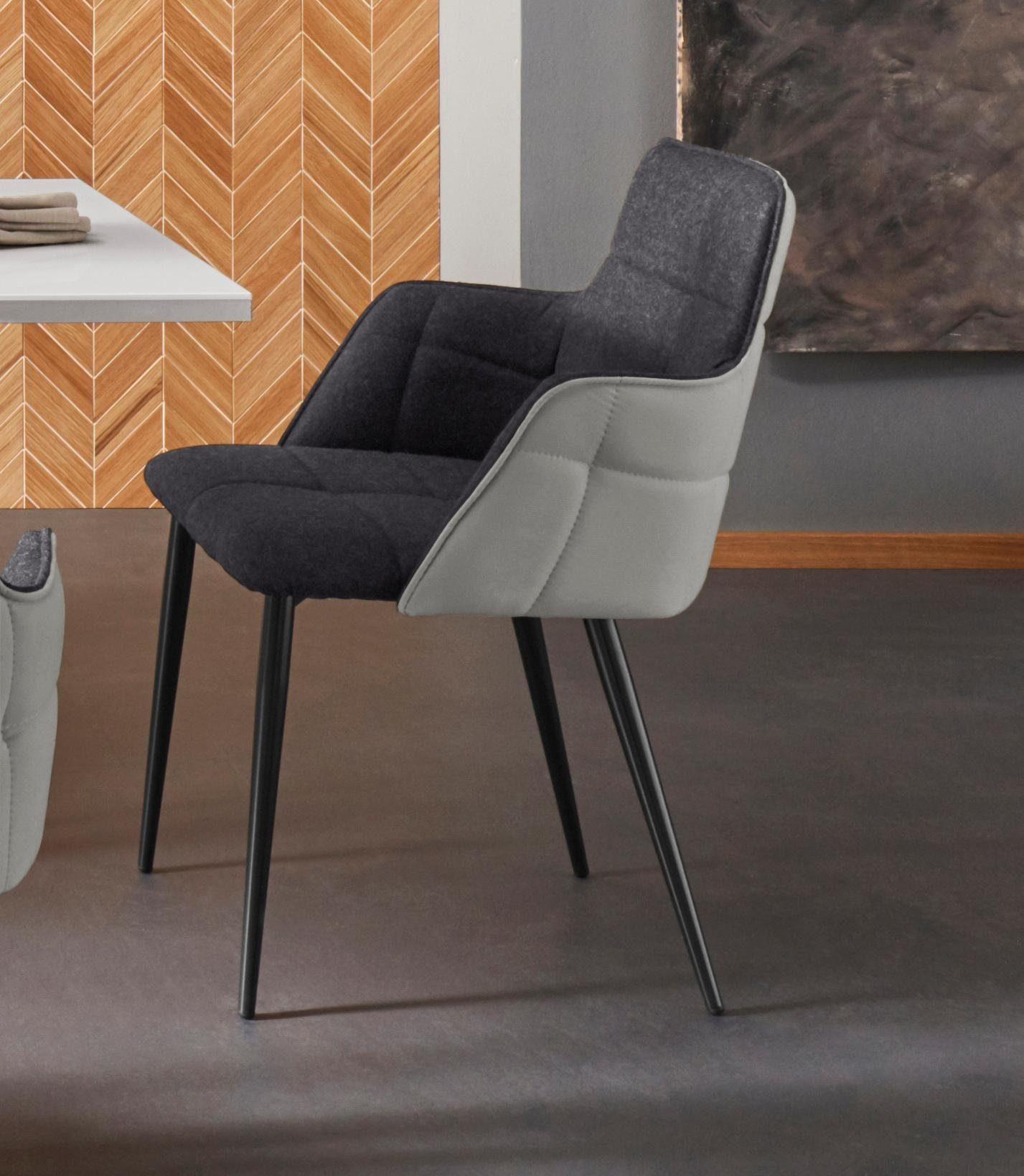 Places of Style Esszimmerstuhl »Iris« 2er Set, mit schönem Webstoff Bezug, schwarzem Metallgestell, Sitzhöhe 45 cm online kaufen | OTTO