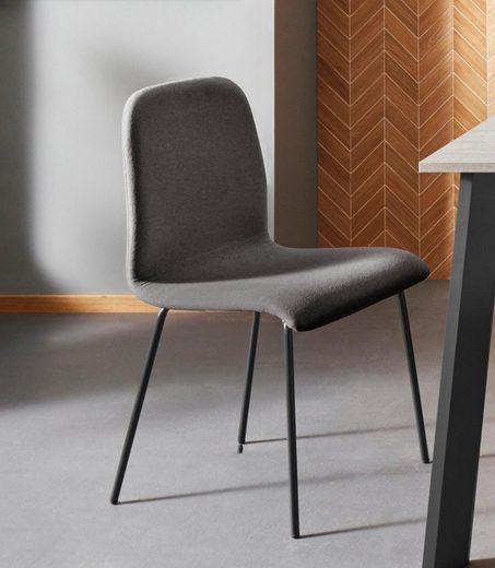 Places of Style Stuhl »Ciao« (Set, 2 Stück), in zwei verschiedenen Bezugsqualitäten, mit schwarzen Metallbeinen, Sitzhöhe 46 cm