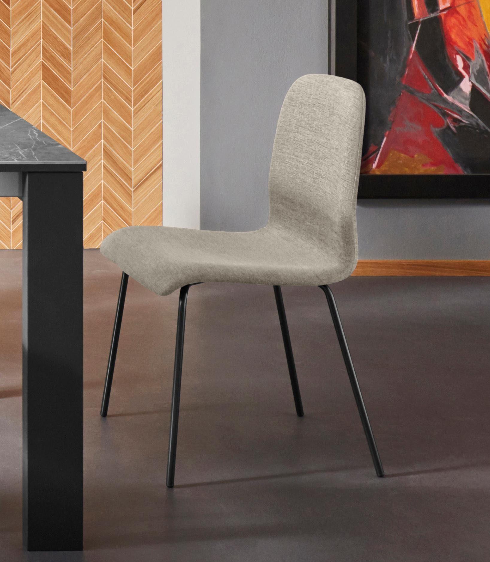 Places of Style Stuhl »Ciao« 2er Set, in zwei verschiedenen Bezugsqualitäten, mit schwarzen Metallbeinen, Sitzhöhe 46 cm online kaufen | OTTO