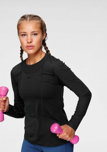 Nike Langarmshirt »W Np Ls Warm Hollywood Top« Glitzernde Mesheinsätze