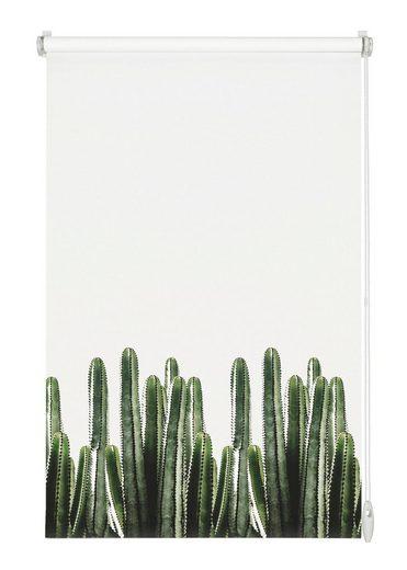 Seitenzugrollo »EASYFIX Rollo Dekor Kaktus«, GARDINIA, Lichtschutz, ohne Bohren