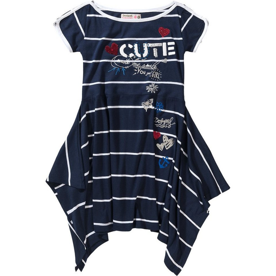Desigual Asymmetrisches Kinder Jerseykleid gestreift mit ...