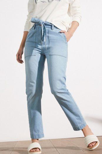 Next Tapered-fit-Jeans »Schmal zulaufende Paperbag-Jeans mit Gürtel« (1-tlg)