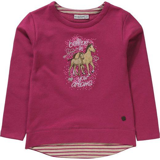 Salt & Pepper Sweatshirt mit Strasssteinen für Mädchen, Pferde