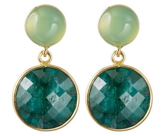 Gemshine Paar Ohrhänger »Smaragde und meeresgrüne Chalcedonen«, Made in Spain