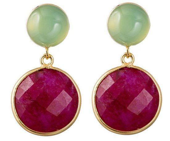Gemshine Paar Ohrhänger »Rubin, Chalcedon - 925 Silber vergoldet« Made in Spain