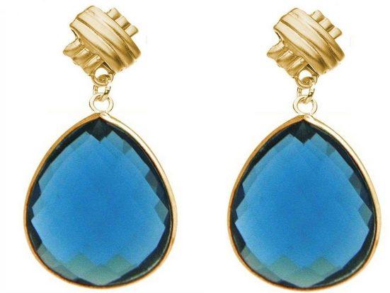 Gemshine Paar Ohrhänger »Blautopas Tropfen, 925 Silber oder vergoldet«, Made in Spain