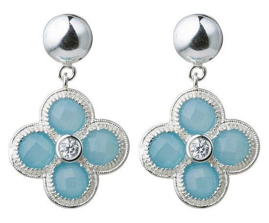 Gemshine Paar Ohrhänger »Chalcedon Edelsteine 925 Silber oder vergoldet« Made in Spain