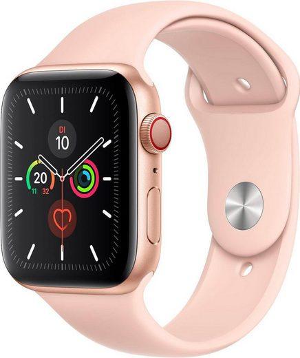 Apple Series 5 GPS + Cellular, Aluminiumgehäuse mit Sportarmband 44mm Watch (Watch OS 6, inkl. Ladestation (magnetisches Ladekabel)
