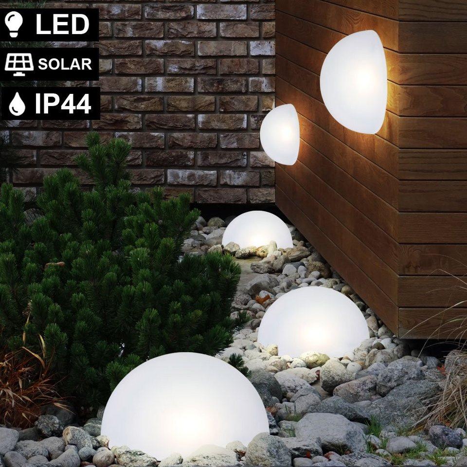 2x LED Solar Lampen Fassaden Wand Sonnen Deko Garten Hof Außen Steck Leuchten