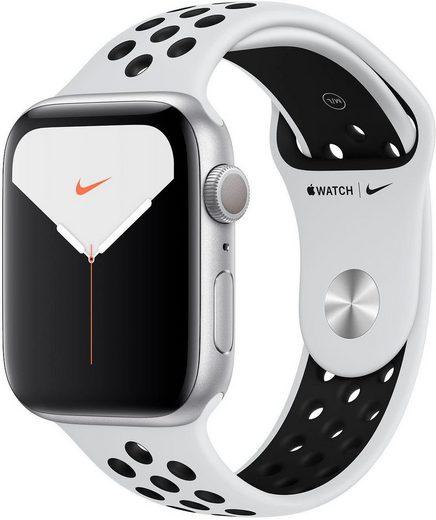 Apple Series 5 Nike GPS, Aluminiumgehäuse mit Nike Sportarmband 44mm Watch (Watch OS 6, inkl. Ladestation (magnetisches Ladekabel)
